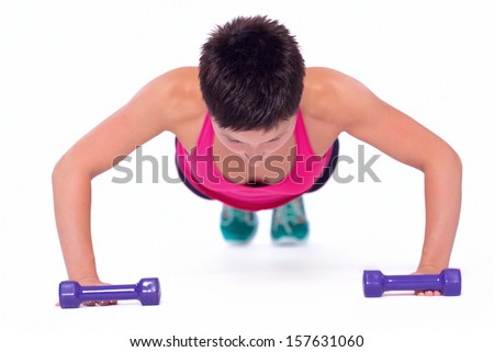 Weights workout - stock photo