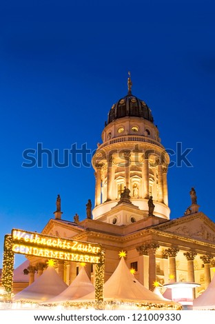 weihnachtszauber french dome and christmas market in berlin germany - stock photo