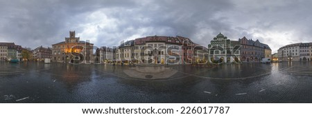 WEIMAR, GERMANY - OCTOBER 21, 2008:  The houses around the market place are old historic originals from the 18th century. 360 degree panorama.