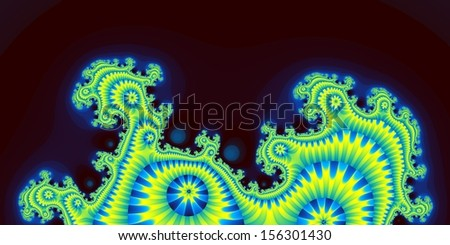Weird abstract fractal design with bright blue-and-yellow coloring - stock photo