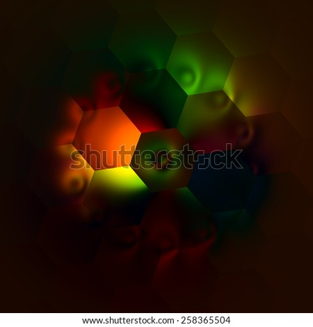 Weird Artistic Colorfully Backlit Hexagons. Abstract Colorful Illustration. Beautiful Light Background. Dark Decorative Mosaic. Creative Multicolored Art Image. Modern Artwork. Red Green Colors. - stock photo