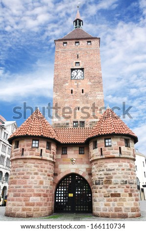 Weisser Turm or White Tower in Nuremberg old town, Franconia, Bavaria, Germany. - stock photo