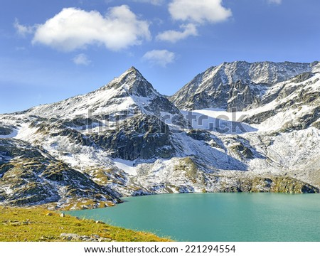 Weisssee - White Lake and mountain Tauernkogel, Grossglockner masiv mountain, National park Hohe Tauern, Austrian Alps, Austria - stock photo