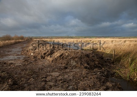 Weland flood prevention project with earth moved to form a dyke on the edge of a waterway with reeds against a dark cloudy sky. - stock photo