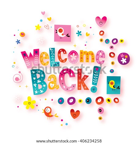 welcome back greeting card - stock photo
