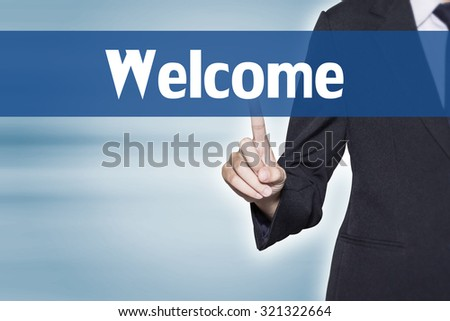 Welcome Business woman pointing at word for business background concept - stock photo