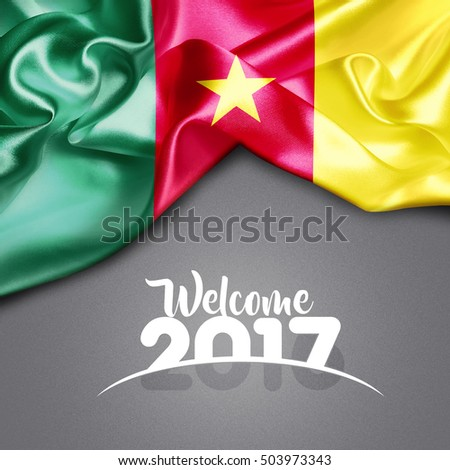 Welcome 2017 Cameroon Flag on Texture background