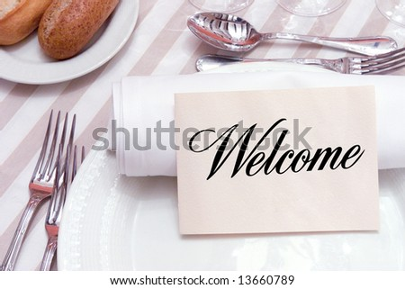 Welcome card for restaurant