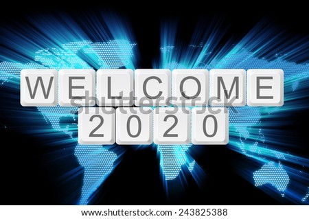 Welcome 2020 from keyboard button with shiny world background - stock photo