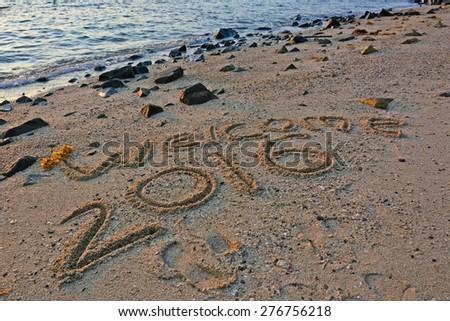 Welcome 2016 handwritten on sand beach - stock photo