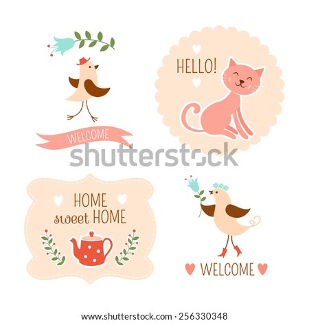 Welcome home decorative elements - stock photo