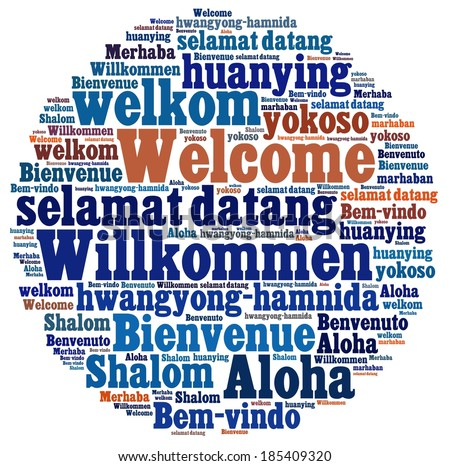Welcome in different languages - stock photo