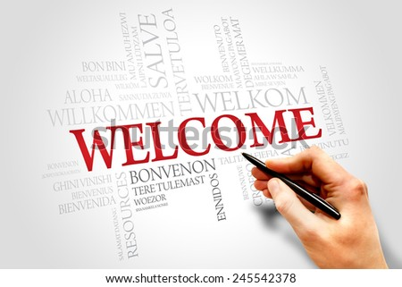 Welcome in different languages words cloud, business concept - stock photo