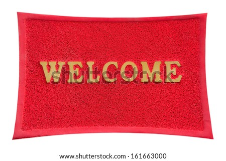welcome mat isolated. - stock photo