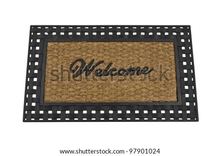 Welcome mat isolated on white. - stock photo