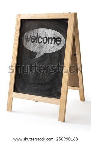 Welcome  message written by Chalk on blackboard isolated with Clipping path for insert Photo - stock photo