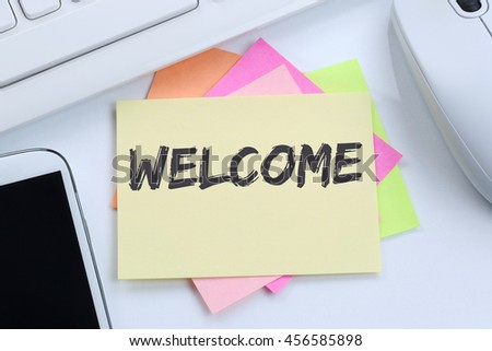 Welcome new employee colleague refugees refugee immigrants desk computer keyboard - stock photo