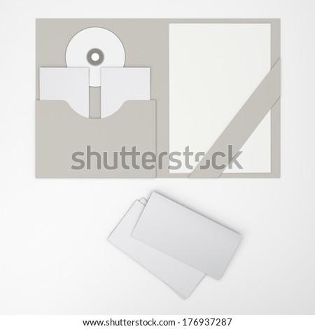 Welcome pack. Open folder with fliers and CD isolated. Render