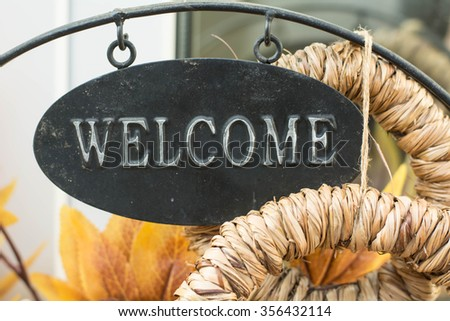 Welcome pancard. - stock photo