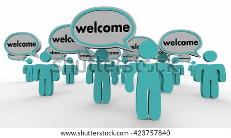 Welcome People Speech Bubbles New Arrival Words 3d Illustration - stock photo