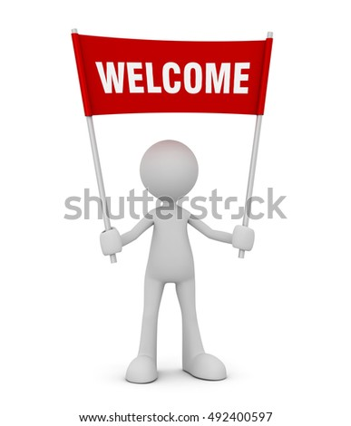 welcome pose isolated 3d illustration