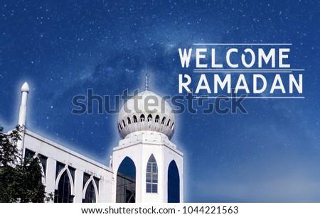 Welcome ramadan greeting background islamic mosque stock photo welcome ramadan greeting background islamic mosque m4hsunfo