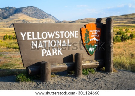 Welcome Sign at Yellowstone National Park - stock photo