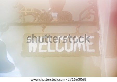 welcome sign in soft and blur style for background - stock photo