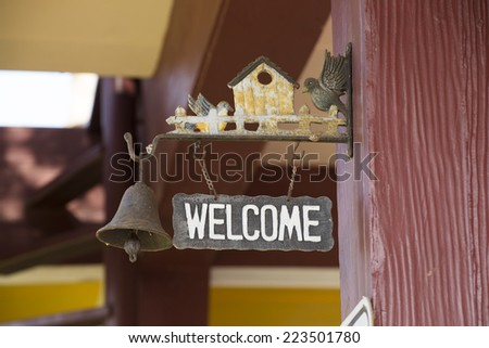 Welcome sign in the house - stock photo