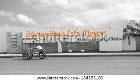 Welcome sign on Isla Mujeres,Yucatan - stock photo
