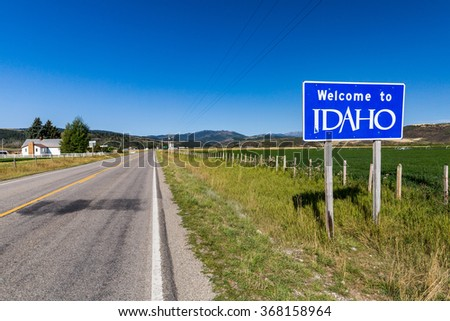 Welcome sign to Idaho State - stock photo