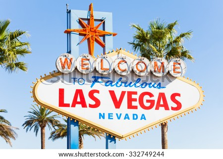 Welcome sign to Las Vegas close-up view in summer - stock photo