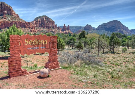 Welcome Sign To Sedona Arizona With A Scenic Background - stock photo