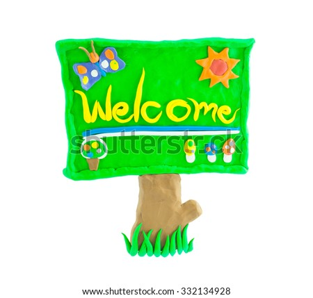 Welcome signboard made from plasticine green isolated on white. - stock photo