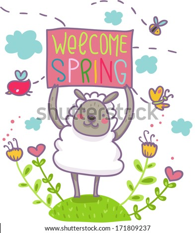 welcome spring funny illustration cartoon