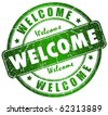 Welcome stamp - stock photo