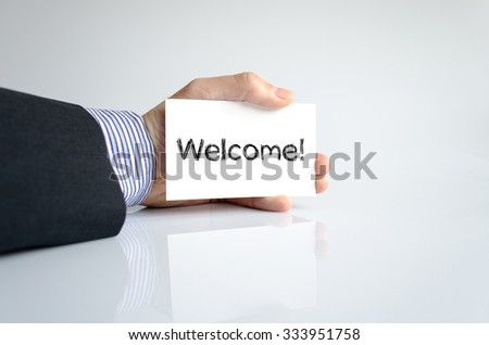 Welcome text concept isolated over white background
