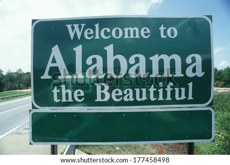 Welcome to Alabama Sign - stock photo