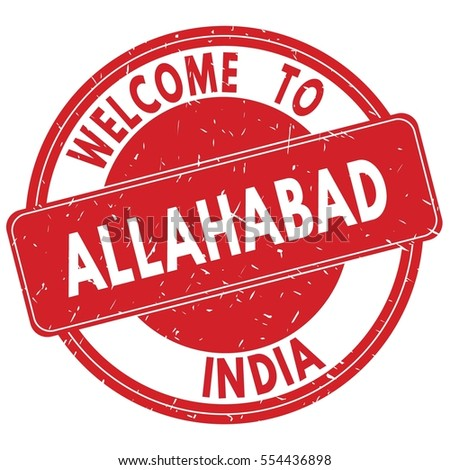 Welcome to ALLAHABAD  INDIA stamp sign text logo red.