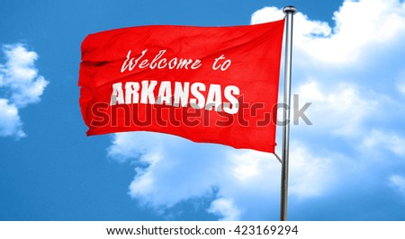 Welcome to arkansas, 3D rendering, a red waving flag - stock photo