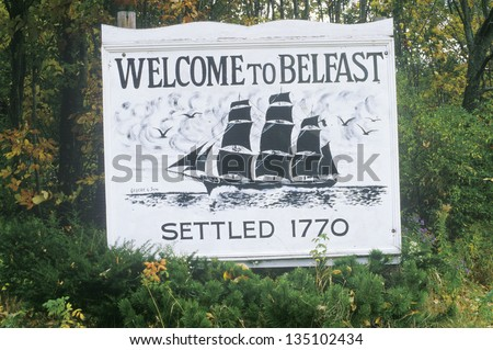 Welcome to Belfast sign in a forest - stock photo