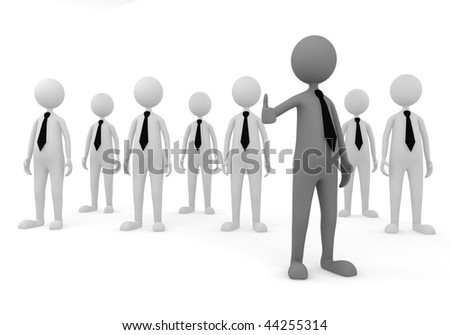Welcome to Business Team. 3D concept depicting leader welcoming to successful business team - stock photo