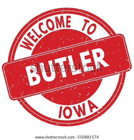Welcome to BUTLER IOWA stamp sign text logo red.