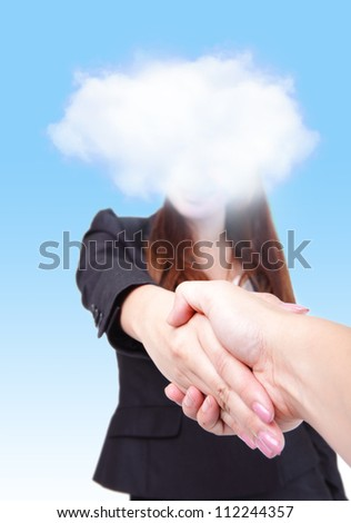 welcome to Cloud computing future world, Business woman with cloud gives a handshake to you