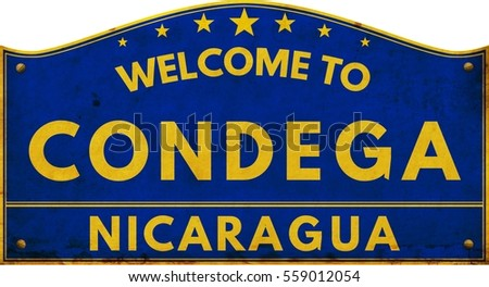 Welcome to CONDEGA NICARAGUA highway road text sign blue.