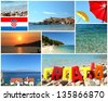 welcome to croatia - stack of summer travel photos - stock photo