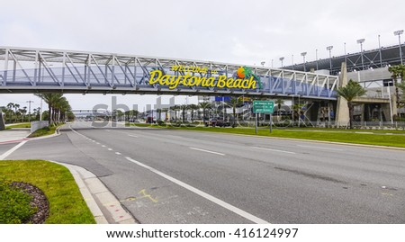 Welcome to Daytona Beach sign on International Speedway Blvd- DAYTONA, FLORIDA - APRIL 15, 2016