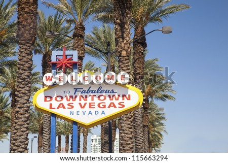 Welcome to Fabulous Downtown Las Vegas Sign - stock photo
