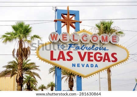 Welcome to Fabulous Las Vegas in Nevada State. Las Vegas Strip Entrance Sign.Horizontal Image Composition - stock photo