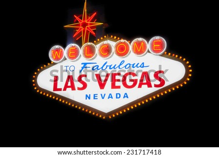 welcome to fabulous las vegas nevada light sign billboard famous night - stock photo